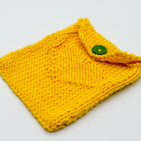 SALE Hand knitted heart design pouch in Yellow