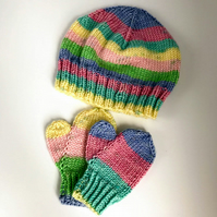 Hand Knitted baby hat and mitten set 3-6 months multicolour stripes