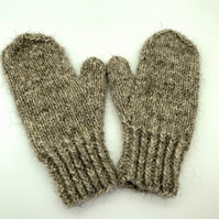Hand Knitted Shetland wool mittens - Small Child - Grey