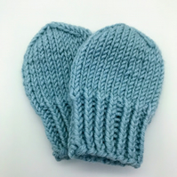 Hand Knitted mittens newborn blue