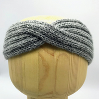 Hand Knitted Twist Head band Turban in Grey