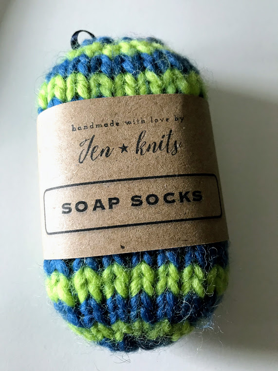 Hand knitted self felting soap sock - Blue and Green - eco friendly