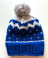 Hand knitted pompom hat in blue and white chunky merino wool - Children's