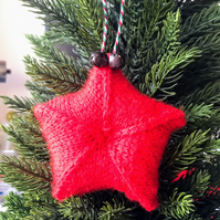 SALE - Hand knitted star - Christmas Decorations - Red