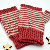 Hand Knitted fingerless mittens - Medium - Grey and red