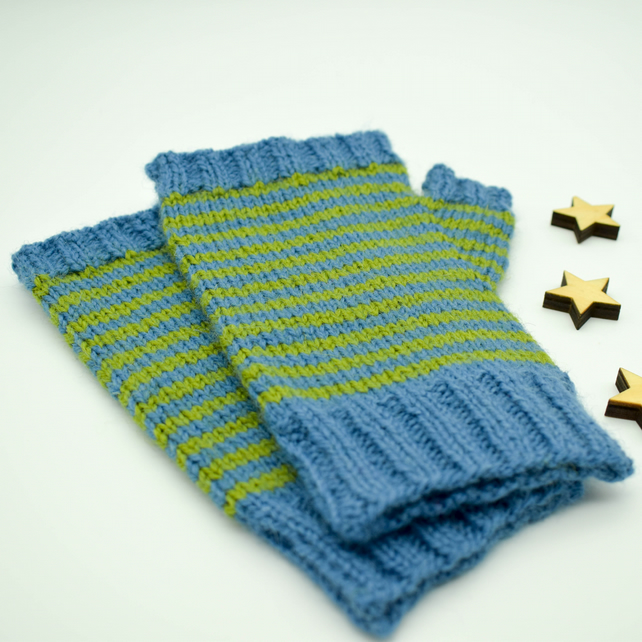 Hand Knitted fingerless mittens - Large - Blue and Green