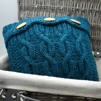 "Hand Knitted Shetland wool Aran design cushion 10""x10"" in TEAL"