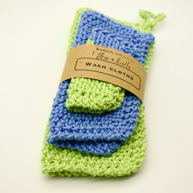 Hand knitted cotton wash cloths - 3 pack - S, M & L- Blue and Green