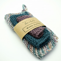 Hand knitted cotton wash cloths - 3 pack - S, M & L- Mauve, Teal and Multicolour