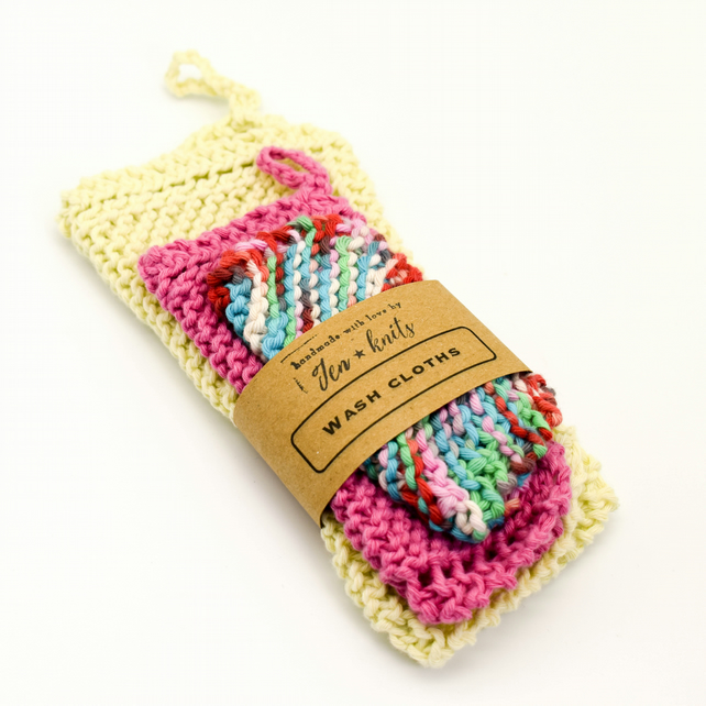 Hand knitted cotton wash cloths - 3 pack - small, medium and large - multicolour