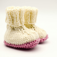 Hand Knitted Baby Booties Prem Small Baby Cream and Pink