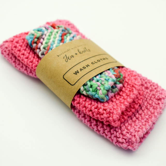 Hand knitted cotton wash cloths - 3 pack - S, M & L- Pink and Multicolour