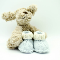 Hand Knitted Baby Booties Newborn Baby -  Blue and White