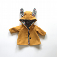 Mustard Coat - Girls Bunny Jacket - Newborn Baby Coat - Gift for Baby Girl