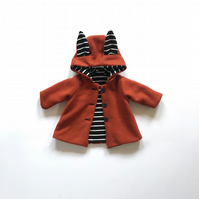 Fox Coat - Childrens Fox Jacket - Hooded Coat - Kids Fleece Jacket - Childs Coat