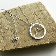 Sterling Silver Cornish Wave Necklace, Wave Jewellery, Sea Wave Necklace