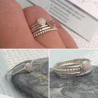 Build Your Own Stacking Ring Set, Opal Ring, Stackable Ring Set, Ring Stack