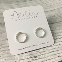 Open Circle Stud Earrings, Round Stud Earrings, Sterling Silver Textured Studs