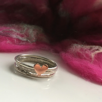 Silver Stacking Rings with a Copper Heart, Set of Three Rings, Skinny Rings