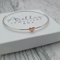 Sterling Silver Heart Bangle, Sterling Silver Bangle with a Copper Heart
