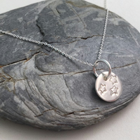 Star Disc Necklace, Sterling Silver Star Stamped Necklace, Cosmic Necklace