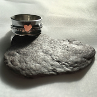Copper Heart Spinner Ring, Sterling Silver Spinning Ring, Mixed Metal Spinner