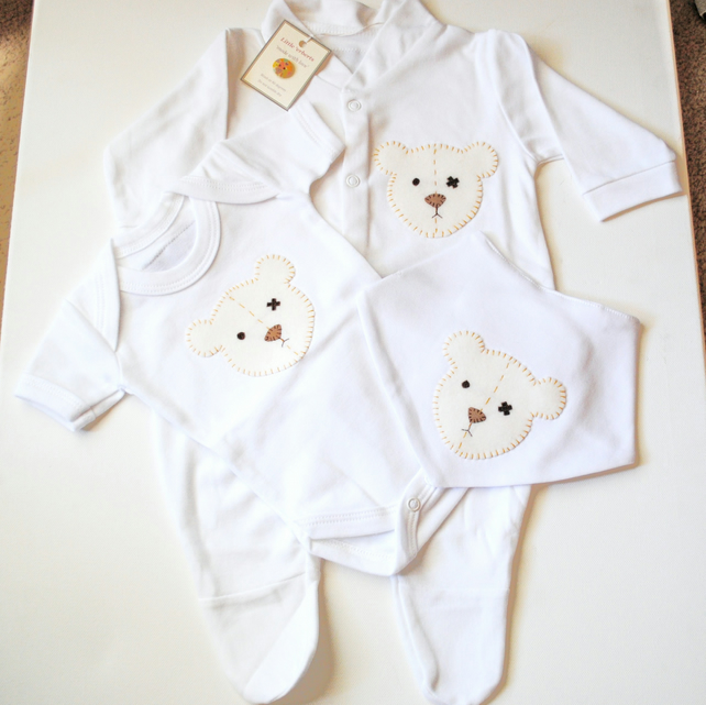 'Teddy Bear' Babygrow set With Free Delivery