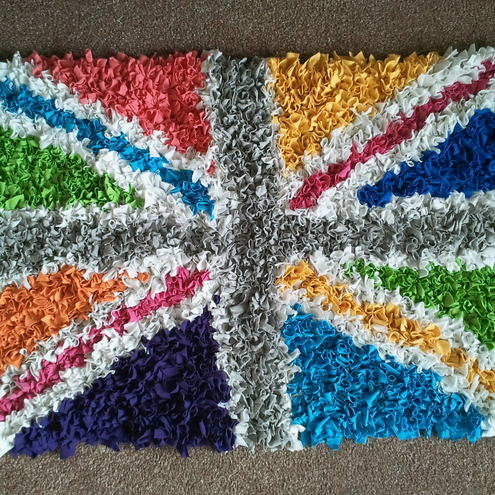 Multicoloured hand made rag rug union jack