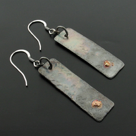 Silver dangle drop hammered earrings, rustic gifts for her.
