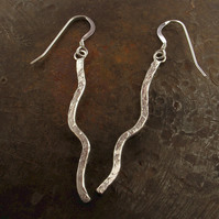 Silver dangle drop long earrings, rustic gifts for her.