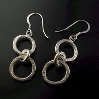 Silver dangle drop round hammered earrings, gifts for her.