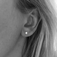 Small silver star studs, girls star studs, silver stud star