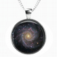 GALAXY STARS - Glass Picture Pendant on Chain - Silver Plated