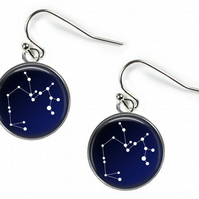 SAGITTARIUS Constellation Zodiac - Glass Picture Earrings - Silver Plated