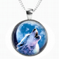 HOWLING WOLF - Glass Picture Pendant on Chain - Silver Plated (03)
