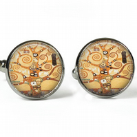 TREE of LIFE - Gustav Klimt - Glass Fine Art Picture Cufflinks - Silver Plated
