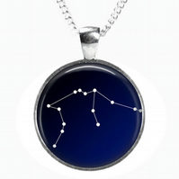 AQUARIUS Constellation - Glass Picture Pendant on Chain - Silver Plated