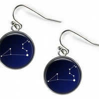 LEO Constellation Zodiac - Glass Picture Earrings - Silver Plated