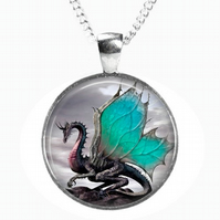WINGED DRAGON - Glass Picture Pendant on Chain - Silver Plated