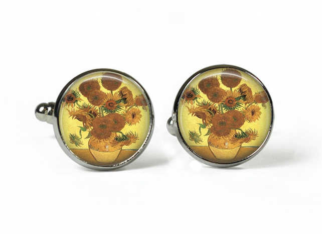 SUNFLOWERS Van Gogh - Glass Picture Cufflinks - Silver Plated