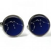 AQUARIUS Constellation Zodiac - Glass Picture Cufflinks - Silver Plated
