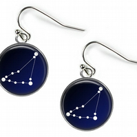 CAPRICORN Constellation Zodiac - Glass Picture Earrings - Silver Plated