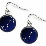 SCORPIO Constellation Zodiac - Glass Picture Earrings - Silver Plated