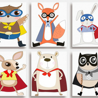 "6 PRINTS Animal Superheroes - Nursery Wall Art for Childs Bedroom (8x10"")"