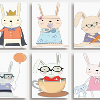 "6 PRINTS Cute Bunnies Rabbits - Nursery Wall Art for Childs Bedroom (8""x10"")"