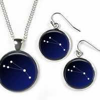 ARIES Constellation Zodiac - Set: Pendant, Chain & Earrings