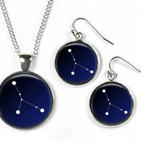 CANCER Constellation Zodiac - Set: Pendant, Chain & Earrings - Glass Picture