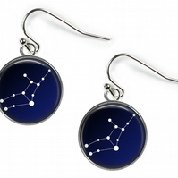 VIRGO Constellation Zodiac - Glass Picture Earrings - Silver Plated
