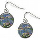 WATERLILIES Claude Monet - Glass Picture Earrings - Silver Plated