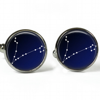 PISCES Constellation Zodiac - Glass Picture Cufflinks - Silver Plated